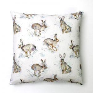 Voyage Hurtling Hare Hares Square Cushion