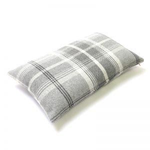 Balmoral Dove Grey Tartan Rectangular Cushion