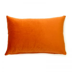 Burnt Orange Velvet Rectangular Cushion