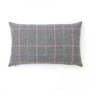 Exford Grey Pink Tartan Rectangular Cushion