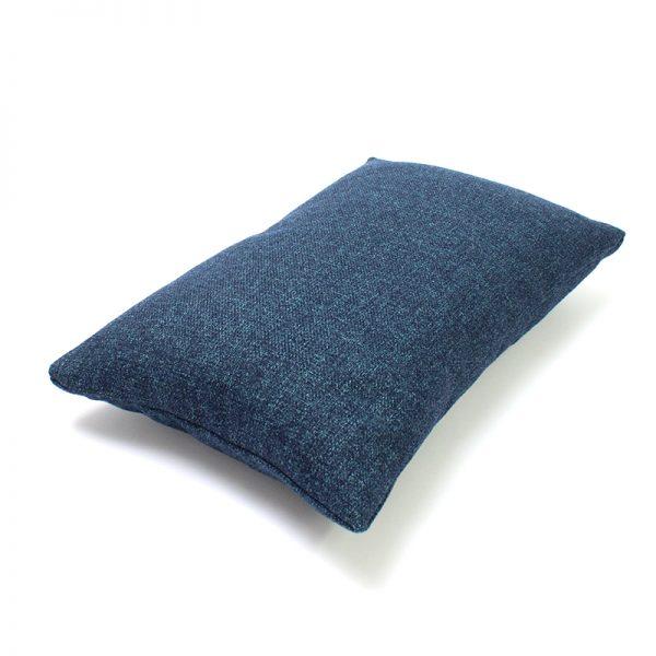 Navy Blue Wool Rectangular Cushion
