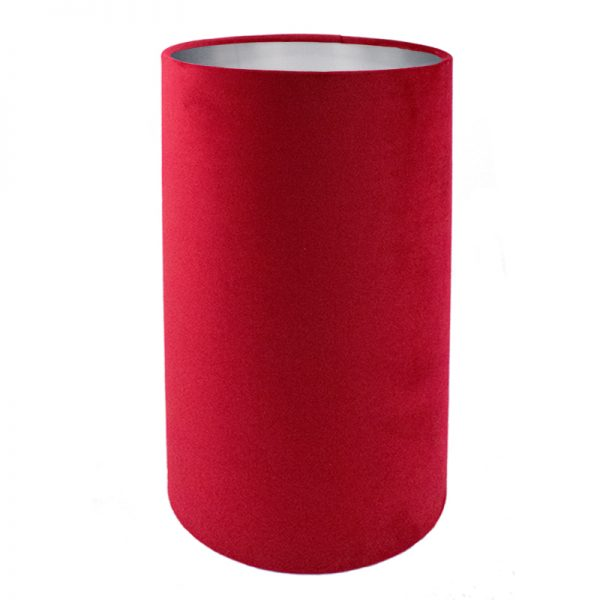 Berry Red Velvet Tall Drum Lampshade