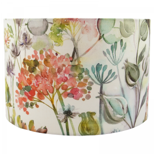 Voyage Hedgerow Coral Floral Drum Lampshade