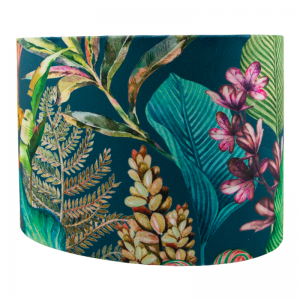 Oasis Teal Velvet Oval Lampshade