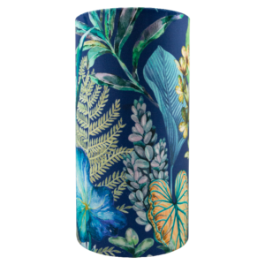 Oasis Blue Floral Velvet Tall Drum Lampshade