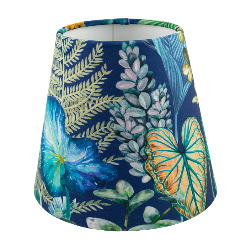 Oasis Blue Floral Velvet Tall Empire Lampshade