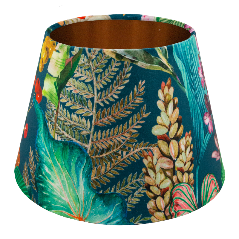 Oasis Teal Floral Velvet Empire Lampshade