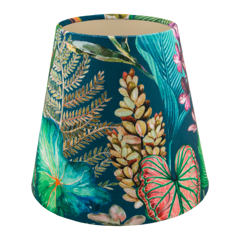 Oasis Teal Floral Velvet Tall Empire Lampshade
