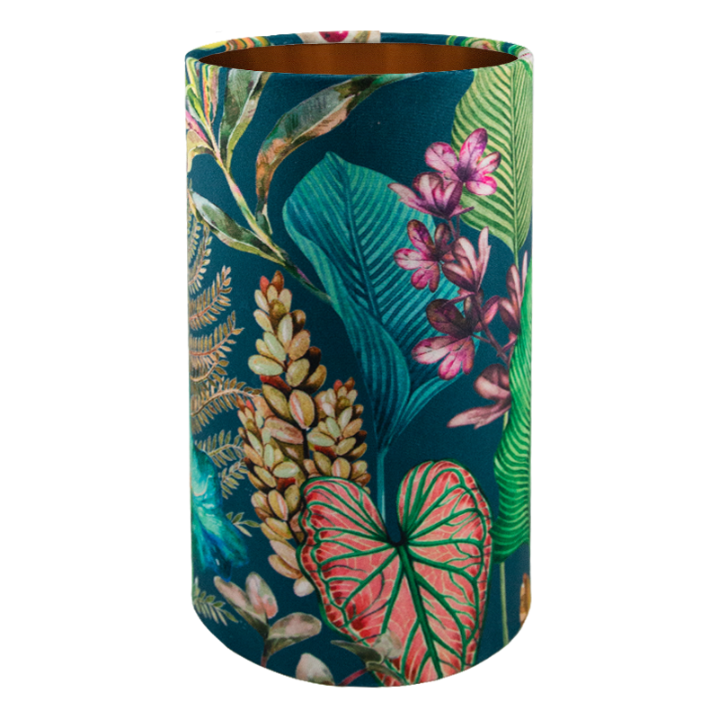 Oasis Teal Floral Velvet Tall Drum Lampshade