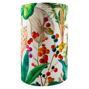 Oasis White Floral Velvet Tall Drum Lampshade