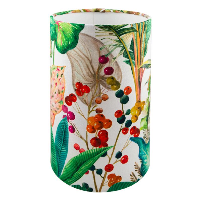 Oasis White Floral Velvet Tall Drum Lampshade