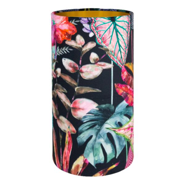Oasis Black Floral Velvet Tall Drum Lampshade