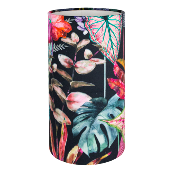 Oasis Black Floral Velvet Tall Drum Lampshade