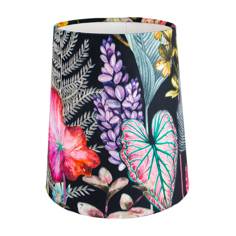 Oasis Black Floral Velvet Tall French Drum Lampshade