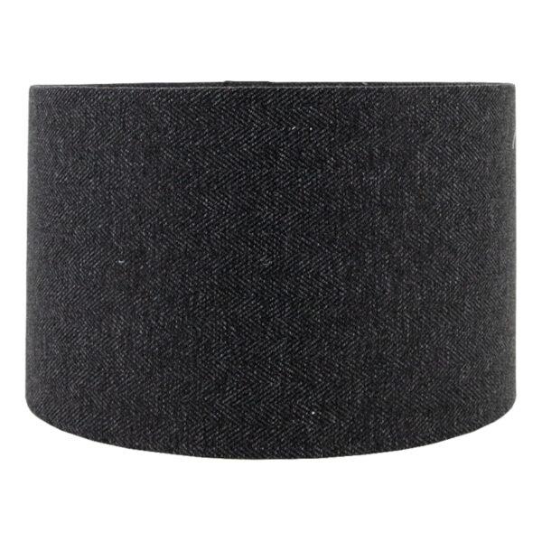 Dark Grey Herringbone Drum Lampshade