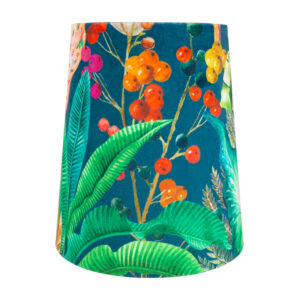 Oasis Teal Velvet Tall French Drum Lampshade