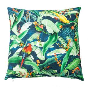 Jungle Parrot Square Cushion
